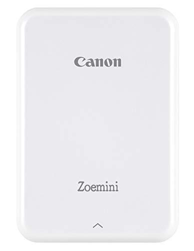 Canon Zoemini Mini Fotodrucker (Mini Fotodrucker, Bluetooth, 5 x 7,5cm Fotos, Akku, ZINK Druck tintenfrei, Sofortdruck, iOS, Android, Printapp, 160 g, 314 x 400 dpi), weiß
