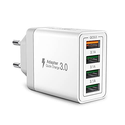 USB Ladegerät,Aioneus 4-Ports USB Charger mit 33W Intelligent QC 3.0 Schnellladegerät Mehrfach Ladestecker USB Netzteil für iPhone 12 11 Pro SE 2020 X,Samsung Galaxy S21 S20 FE S10 S9 S8 A51 A71,Handy