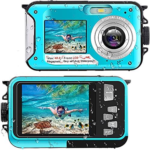 Unterwasserkamera Full HD 2.7K 48MP 10FT Kamera Wasserdicht Dual Screen 16X Digital Zoom Schnorcheln wasserdichte Digitalkameras für Selbstauslöser Unterwasser, Schwimmen, Urlaub