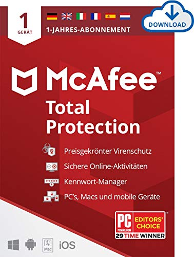 McAfee Total Protection 2021 | 1 Geräte | 1 Jahr | Antivirus Software, Virenschutz-Programm, Passwort Manager, Mobile Security, Multi Geräte | PC/Mac/Android/iOS |Europäische Ausgabe| Download Code