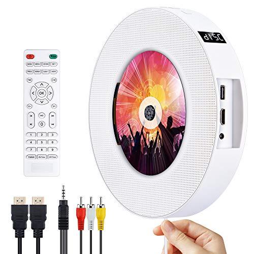 DVD/CD Bluetooth Player CD Player, Tragbar an der Wand montierbar CD/DVD Player, HDMI-kompatibel Eingebaute HiFi Lautsprecher