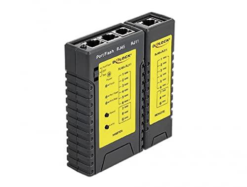Delock 86407 Netzwerk Tester Kabeltester RJ45/RJ12 LED Portfinder-Funktion