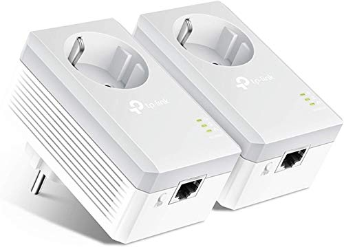 TP-Link Powerline Adapter Set TL-PA4010P KIT(600Mbit/s Homeplug AV2, mit Steckdose, 2 LAN Ports, Plug&Play, kompatibel mit allen Powerline Adaptern, ideal für Streaming, energiesparend)weiß