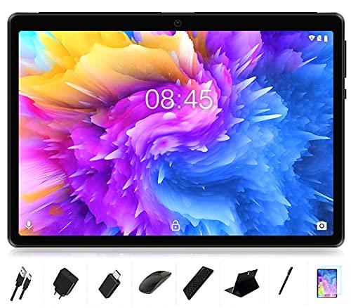 Tablet 10 Zoll Android 10, MEBERRY 8 Core Prozessor Ultraschneller Tablet PC mit 4GB RAM+64GB ROM, 8000mAh Akku | 1280 * 800 IPS | Kamera (5 + 8MP) | Nur WLAN | GPS | Bluetooth, Tastatur & Maus, Grau